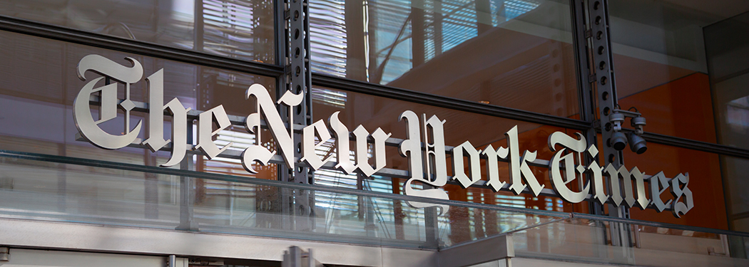 """New York, New York, USA - August 05, 2013: The entrance to the building of daily newspaper """"The New York Times""""."""